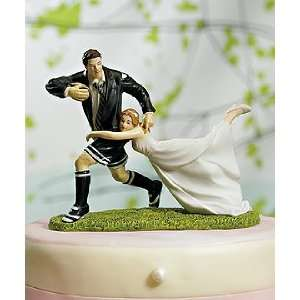 Rugby Wedding Cake Topper   A Love Match Rugby Couple Home & Kitchen