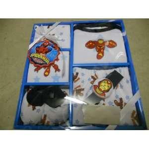 Marvel Iron Man 6 Piece Play Time Baby Set 1 T shirt,1 Booties,1 Cap,1