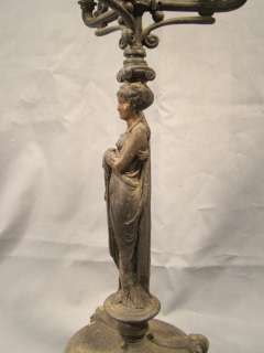 Antique GOTHIC Victorian FIGURAL LADY Statue PAW Foot CANDLE Holder