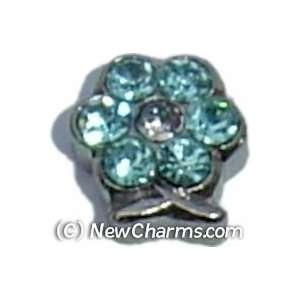 Flower Birthstone March Floating Locket Charm Jewelry