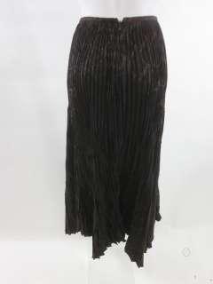 GUNEX Black Brown Printed Pleated Long Skirt Sz 4