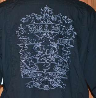 DKNY ROCK & ROLL LONG SLEEVE BLACK COTTON CASUAL EMBROIDERED SHIRT