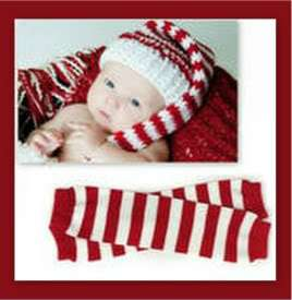 HAND KNITTED CHRISTMAS BABY Boy Girl ELF HAT / LEG WARMERS PHOTO PROPS