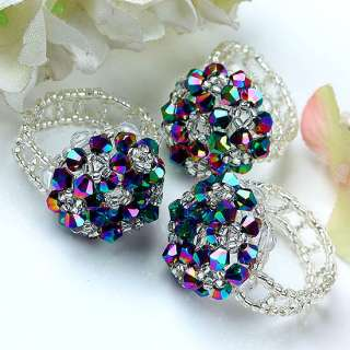 Pretty Crystal Glass Faceted Beads Finger Ring 1PC. Beautiful color