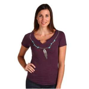 Lucky Brand Womens Feather Necklace Tee Size L