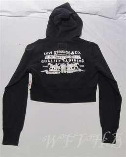New With Tags Womens Girls Levis Hoodie Half Waist Shirt Jacket Black