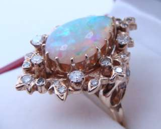 1960s 14K Yellow Gold Ladies Diamond Opal Ring