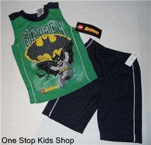 LEGO BATMAN Boys 4 5 6 7 Set OUTFIT Shirt Tank Top Shorts Super Hero