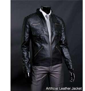 Premium Black Mens Rider Leather Jacket US Size M