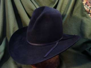 RESISTOL Cowboy Hat Tom Mix Gus Crease 4X Laloo Style Black Size 7 1/4