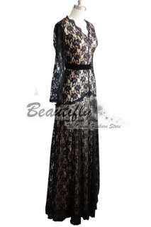 Elegant Black Lace Sleeves Prom Lady Cocktail Wedding Evening Party