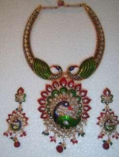 PEACOCK enamel Kundan gold tone Necklace PENDANT Earring CHOKER set