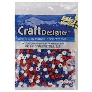 Pony Beads 6x9mm 720/Pkg Red/White/Blue   659302: Patio