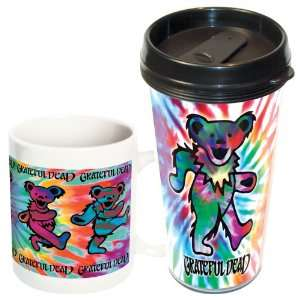 Grateful Dead/Tie Dye Bears Travel and Ceramic Mug 2 pack