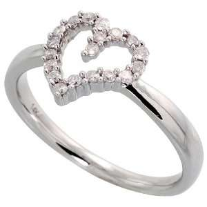 14k White Gold Heart Cut Out Ring, w/ 0.15 Carat Brilliant Cut