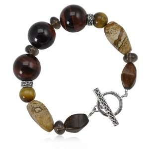 Womens Golden Stone Bracelet with Red Tigers Eye, Picture jasper and