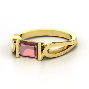Loop de Loop Ring, Emerald Cut Red Garnet 14K Yellow Gold