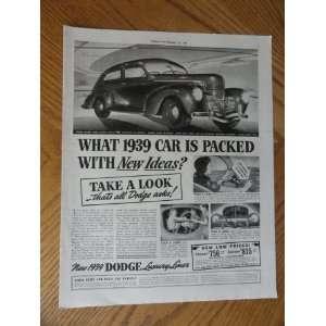1939 Dodge Car, Vintage 30s full page print ad. Color Illustration