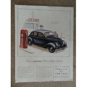 1938 Ford V 8 60,Vintage 30s full page print ad (car/gas station
