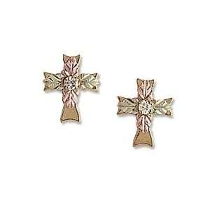 Black Hills Gold Birthstone Cross Earrings (1 Stone) family jewelry