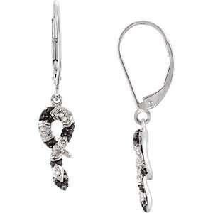 Genuine Black & White Diamond Snake Earrings Jewelry