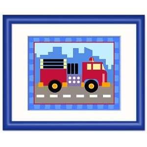 Olive Kids Train plane and Truck, Truck framed print (dark blue