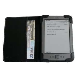Black mCover® Leather Folio Cover Case with built in inner pocket