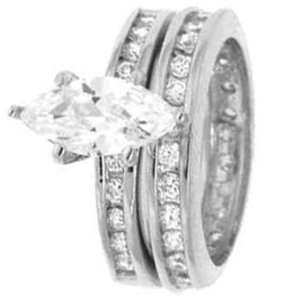 Sterling Silver Wedding Ring Set with Marquise Cubic Zirconia in Six