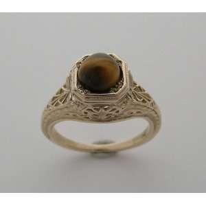14k Yellow Gold Antique Filigree Tigers Eye Ring Jewelry