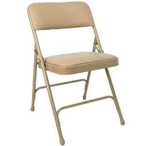 Advantage Beige Vinyl Padded Folding Chair   Beige Metal