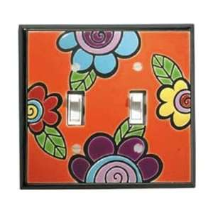 Funky Flower Ceramic Switch Plate / 2 Toggle