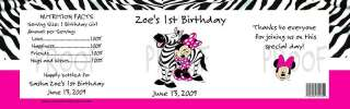 Birthday Minnie Mouse Zebra Pink WATER BOTTLE LABELs