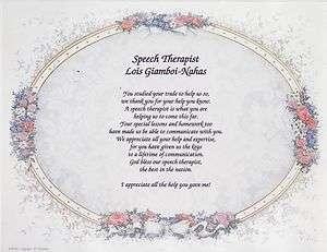 SPEECH THERAPIST Poem Personalized Print Name Prayer