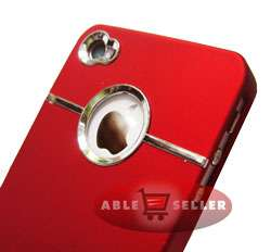 DELUXE RED CHROME IPHONE 4S 4G 4 CASE & SCREEN PROTECTOR KIT AT&T