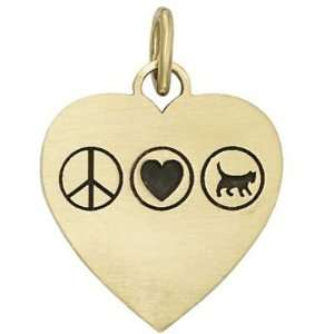 Peace Love Cat Heart   Gold
