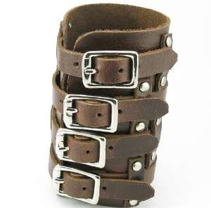 H888 Super Width 4.5 REAL Brown Leather Men/Women Wristband Cuff Punk