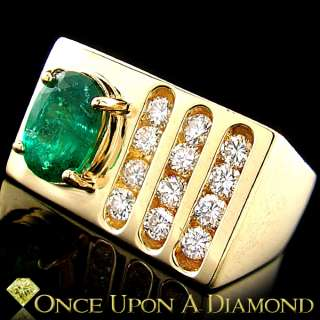 05ctw Oval Cut Natural Emerald & Diamond Mans Right Hand Ring