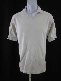JOSEPH ABBOUD Mens Bone Cotton V Neck Shirt Sz M