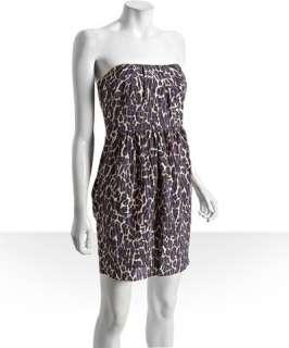 Shoshanna purple leopard silk pleated strapless dress