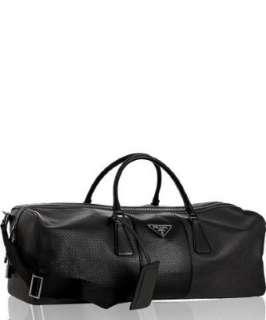 Prada black perforated leather large duffel bag