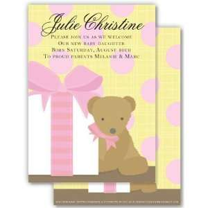 Girl Baby Shower Invitations   Pink Teddy Bear Surprise Invitation