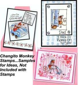CHANGITO MONKEY WOOD MOUNTED RUBBER STAMPS  NEW