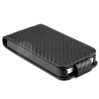 Deluxe Black Carbon Fiber Leather Case Cover Pouch For iPhone 4S 4G 4
