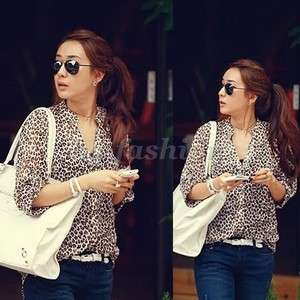 Leopard Print Shirt 3/4 Sleeve Top T shirt Botton Down Blouse S M L