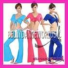 BELLY DANCE YOGA SPORTS COSTUME SET CHOLI WRAP TOP FLARE PANTS