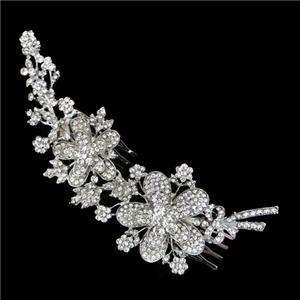 Flower Bridal Hair Comb Tiara w/ Swarovski Crystal