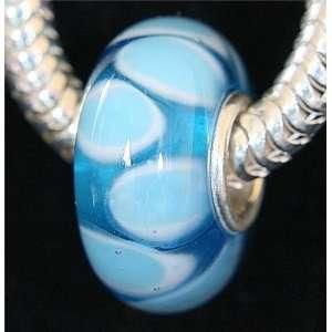 Glass Bead Charm Unthreaded Fits Pandora Bracelets