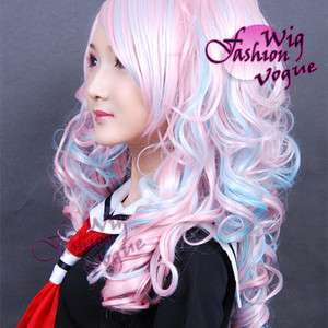 Lolita Stunning Long Curly Pink Mixed Blue Cosplay Hair Wig