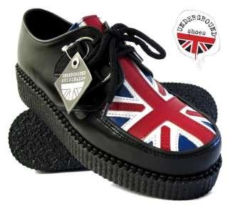 Womens UNDERGROUND Union Jack Wulfrun Lace Up Creepers   Sizes UK 3