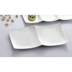 Fortune China 11 1/2 x 5 White Divided Tasting Plate 36/CS